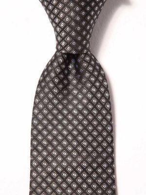 Campania Slim Structure Black & White Silk Ties