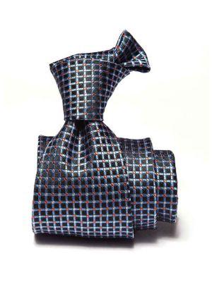 Campania Checks Dark Blue Silk Tie