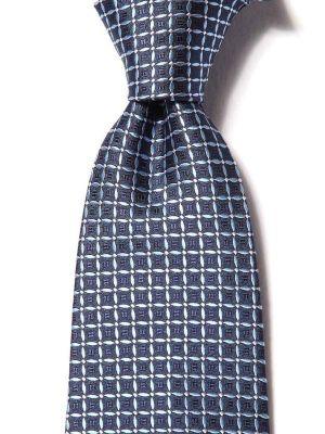 Campania Checks Dark Blue Silk Ties