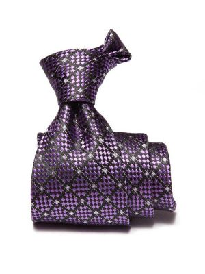 Como Checks Dark Lilac Silk Tie