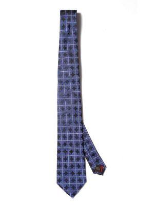 Como Slim Checks Medium Blue Silk Ties