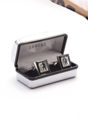 Black & White Birth Sign Mother of Pearl Cufflinks