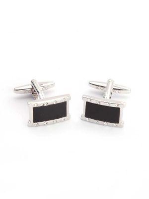 Black & Silver Enamel Cufflinks