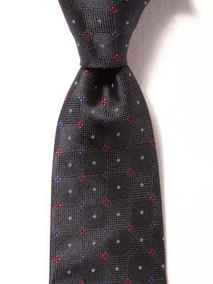 Florentine Slim Checks Navy Silk Tie