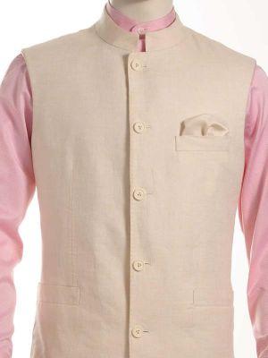 Positano Linen Beige Sleeveless Jodhpuri