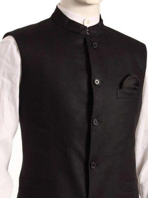 Positano Black Linen Tailored Fit Solids Suit