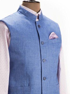 Positano Linen Blue Sleeveless Jodhpuri