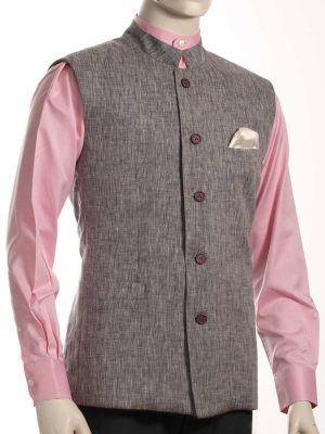 Positano Linen Light Grey Sleeveless Jodhpuri