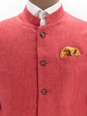 Positano Red Linen Solids Suit