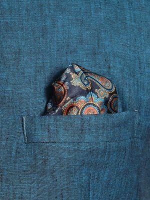 Positano Teal Linen Tailored Fit Solids Suit