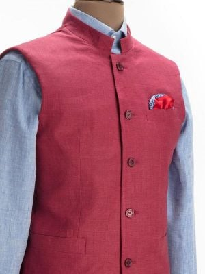 Positano Wine Linen Tailored Fit Solids Suit