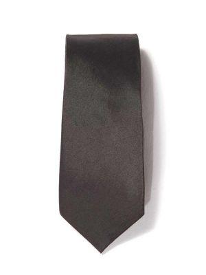 Kingston Slim Solid Dark Black Polyester Ties