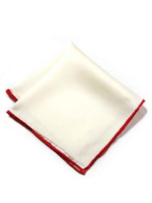 Silk Pochette White & Red