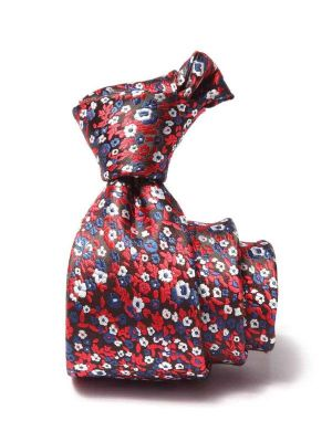 Prato Slim All Over Dark Maroon Polyester Ties