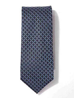 Savona Slim Checks Dark Blue Polyester Tie