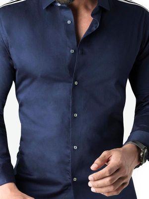 Alec Navy Blended Slim Fit Solids Shirt
