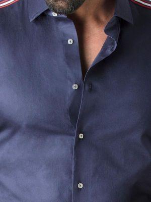 Amado Navy Blended Slim Fit Solids Shirt