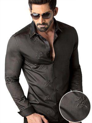 Aoki Black Slim Fit Solid Shirt