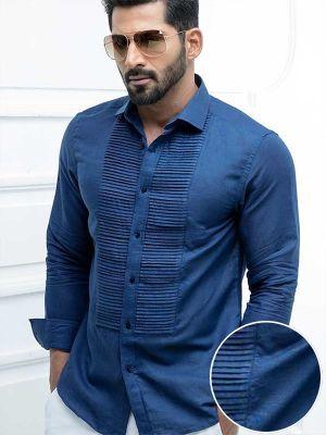Armin Navy Blended Slim Fit Solids Shirt