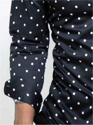Bruno Black Blended Slim Fit Printed Shirt