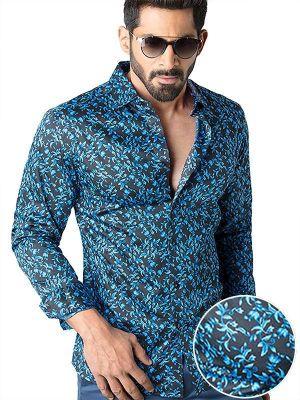 Calderoni Cobalt Slim Fit Printed Shirt