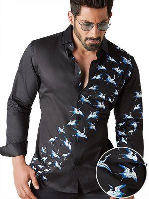 Crane Black Blended Slim Fit Prints Shirt