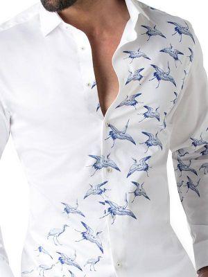 Crane White Blended Slim Fit Prints Shirt