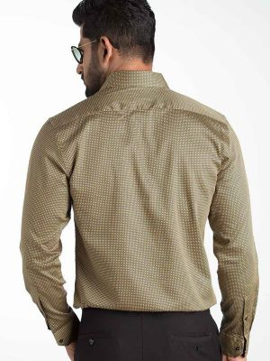 Diego Ochre Blended Slim Fit Prints Shirt