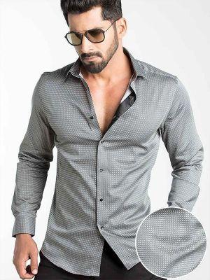 Diego Rust Slim Fit Printed Shirt