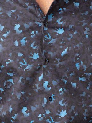 Euron Navy Blended Slim Fit Prints Shirt