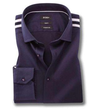 Flavio Navy Blended Slim Fit Solids Shirt