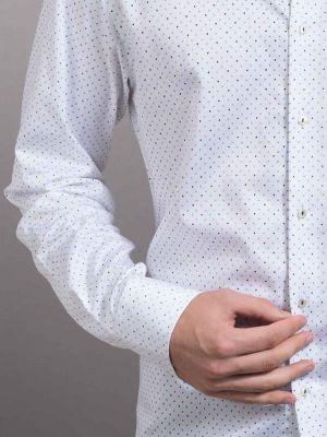 Fuse White Blended Slim Fit Printed Shirt