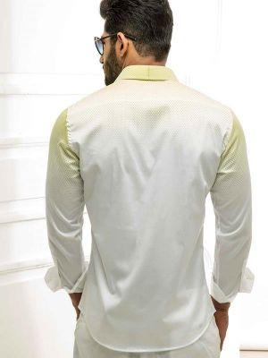 Guetta Green Blended Slim Fit Prints Shirt