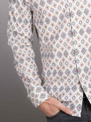 Istanbul Print Ecru Slim Fit Printed Shirt