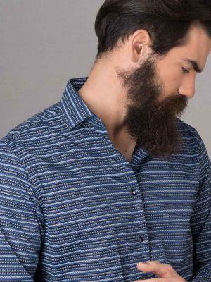 Machu Print Blue Slim Fit Printed Shirt