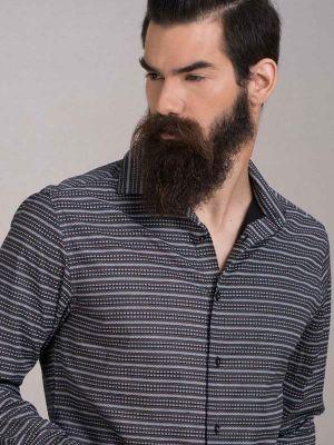 Machu Brown Blended Slim Fit Prints Shirt