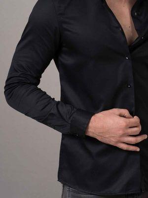 Nirvana Miller Black Slim Fit Solid Shirt