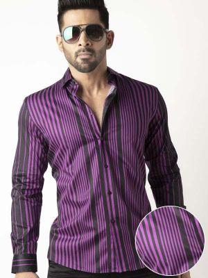 Sinaloa Purple Slim Fit Stripe Shirt