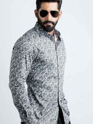 Solomon Black Blended Slim Fit Prints Shirt