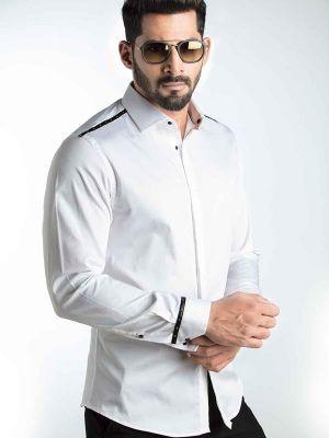Swanky White Slim Fit Printed Shirt