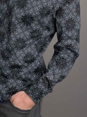 Taksim Print Black Slim Fit Printed Shirt