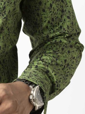 Theon Green Blended Slim Fit Printed Shirt