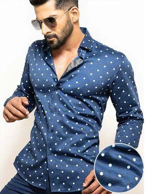 Timberlake Navy Blended Slim Fit Prints Shirt