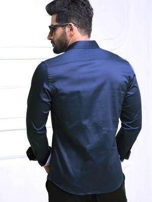 Wake Nautical Navy Slim Fit Printed Shirt