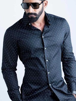 Wolfpk Black Blended Slim Fit Prints Shirt