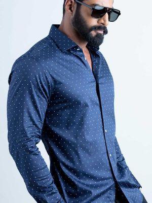 Wolfpk Navy Blended Slim Fit Prints Shirt