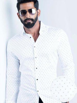 Wolfpk White Blended Slim Fit Prints Shirt