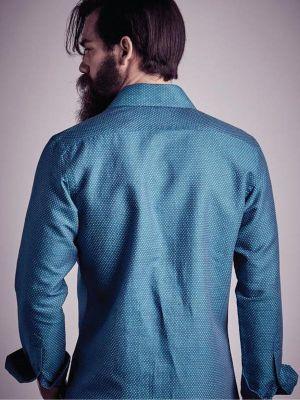 Sutra Linen Teal Slim fit Shirt