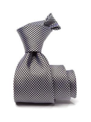 Campania Structure Black and White Silk Tie