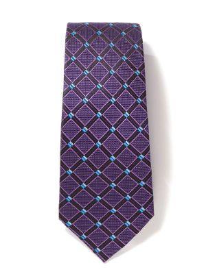 Como Checks Dark Purple Silk Ties